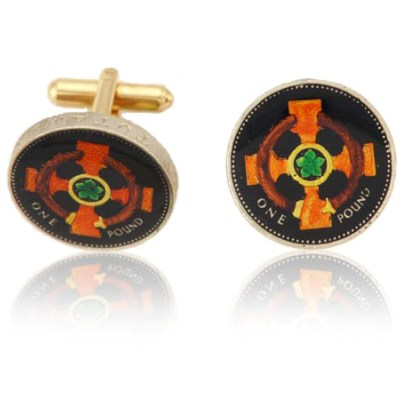 English Pound Cross In Circle Coin Cuff Links