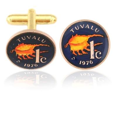 Tuvalu Sea Shell Coin Cuff Links