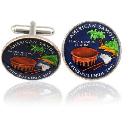 Samoa Quarter Coin Cuff Links