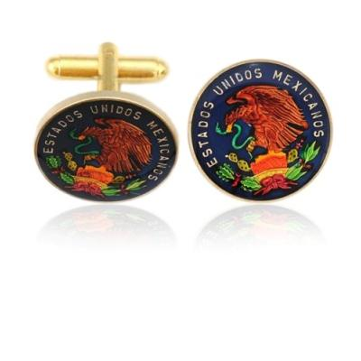 Mexico Small Eagle Coin Cuff Links