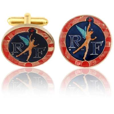 French Angel Coin Cuff Links