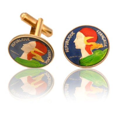 French Female Head Coin Cuff Links