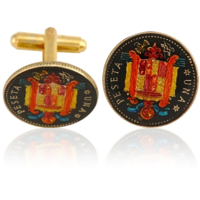 Spain Peseta Coin Cuff Links