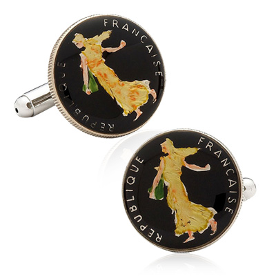 Hand Painted French Five Cent Coin Cufflinks