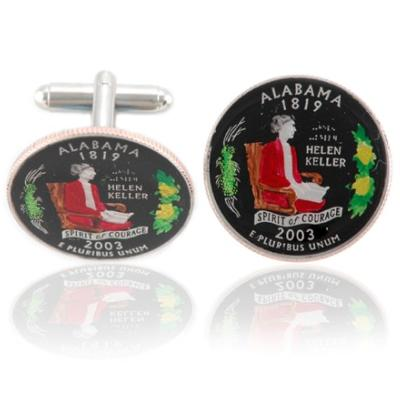 Alabamian Quarter Coin Cuff Links