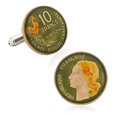 Hand Pained French Ten Cent Coin Cufflinks