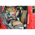 Neoprene Front Seat Covers, Black and Tan, 11-17 Jeep Wrangler by Rugged Ridge