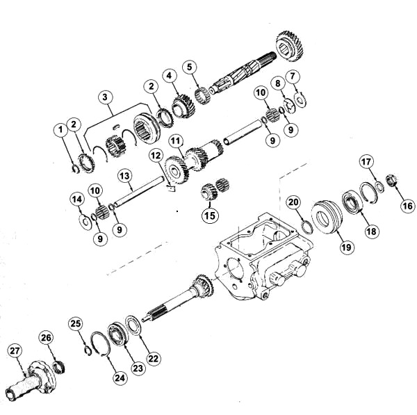 Jeep 1966-71 T-86 Transmission Parts for CJ5 & Jeepster with Buick 225 V6