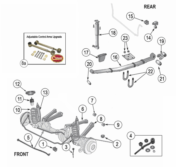 jeep cherokee xj suspension parts  years 1984