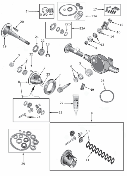 Wrangler YJ Dana 35 Rear Axle Parts (1987-95)