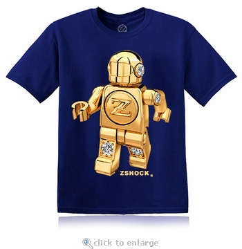 Gold Diamond ZBot Robot Navy Blue T-Shirt