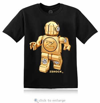 Gold Diamond ZBot Robot Black T-Shirt