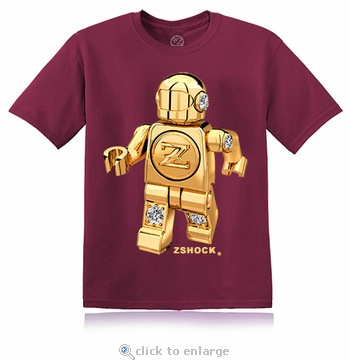 Gold Diamond ZBot Robot Burgundy T-Shirt