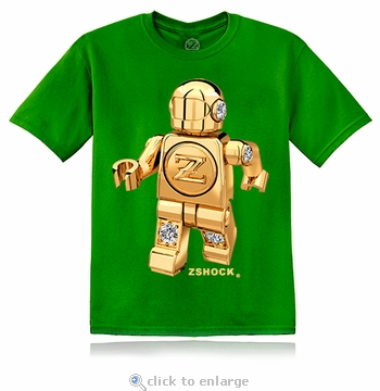 Gold Diamond ZBot Robot Green T-Shirt
