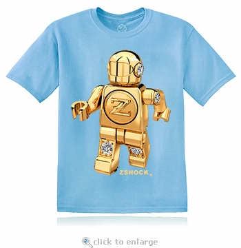 Gold Diamond ZBot Robot Light Blue T-Shirt