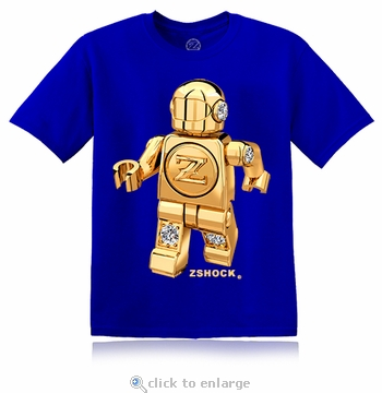 Gold Diamond ZBot Robot Royal Blue T-Shirt