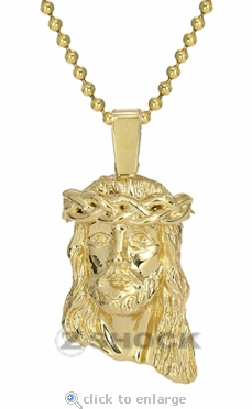 The Yellow Mini Jesus Piece Pendant by ZShock in Gold Tone