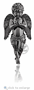 Guardian Angel Pendant by ZShock in Silver with Black Platinum Finish