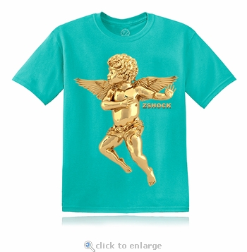 Gold Angel Of Virtue Teal Blue T-Shirt