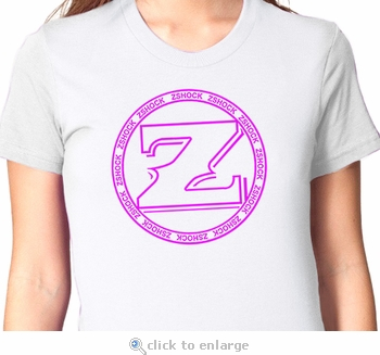 Ladies ZShock Icon Logo T-Shirt White and Hot Pink