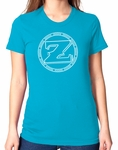 Ladies ZShock Icon Logo T-Shirt Aqua And White
