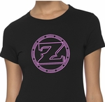 Ladies ZShock Icon Logo T-Shirt Black And Pink