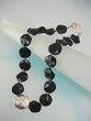Contemporary Black Onyx Sterling Silver Beaded Necklace