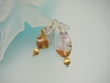 Moss Rose Quartz & Vermeil Dangle Earrings