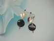 Contemporary  Black  Onyx  Sterling Silver Dangle  Earrings