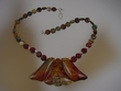 Picasso Jasper  Sterling Silver Drop Beaded Necklace
