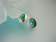 Gaspeite Oval Sterling Silver Earrings-SPS5514E
