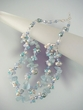 Aquamarine / Freshwater Pearl / Crystals Two Rows Beaded Necklace