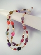 Mixed Gemstone & Sterling Silver Two Rows Beaded  Nesklace