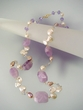 "Light  Amethyst  & Freshwater Pearl  27""  Long Necklace"