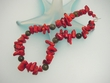 Red Coral & Labradorite Sterling Silver Beaded Necklace