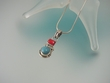 Turquoise & Coral Sterling Silver Pendant  Necklace