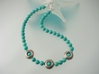 Unique Green Turquoise Sterling Silver  Necklace