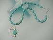 Artistic  Green Turquoise  Sterling Silver Beaded Pendant  Necklace