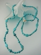 "Carved Turquoise 14K Gold  36""  Necklace"