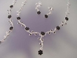 Black Crystal  Necklace & Earrings & Bracelet  Set