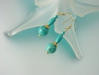 Green Turquoise and Vermeil Dangle Earrings