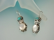 Mother of Pearl and Turquoise  Sterling  Silver  Drop  Earrings-TQ3556E