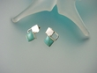 Modern Turquoise Square Sterling Earrings-SOLD