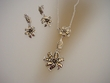 Sterling Silver Flower Necklace & Earrings