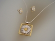 Sterling Silver Daisy Necklace and  Earrings Set