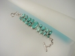 Green Turquoise Serling  Silver Bracelet