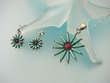 Turquoise  & Coral  Sterling  Silver  Necklace And Earrings  Set
