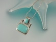 Turquoise Modern Sterling Silver Pendant Necklace