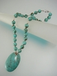 Green Turquoise & Sterling Silver Beaded Pendant Necklace