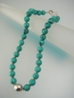 Green Faceted Turquoise & Sterling Silver Beaded Necklace